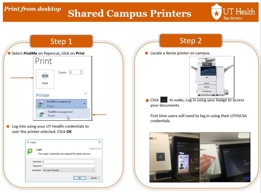 Picture of steps for printing. Please call 210-567-7777 for verbal instructions.