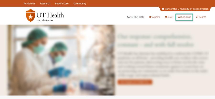 UT Health San Antonio homepage with the Quicklinks box selected