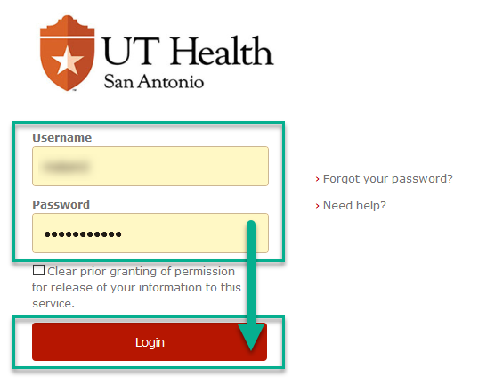 UTHSA Network Login Page with Username and Password Box completed and selected with an arrow pointing to the Login Button